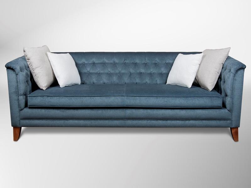 Sofa capitone terciopelo azul contemporaneo atrildeco atrildeco - Sofa terciopelo azul ...